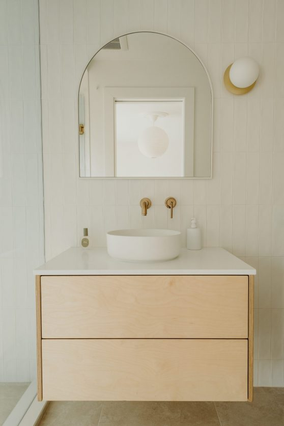 wood floating vanity